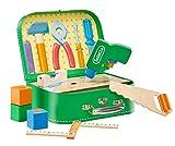 Selecta 62074 Werkzeugkoffer, stabile Werkzeuge aus Holz, 25 x 18 cm, bunt