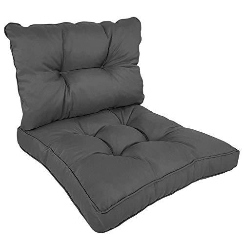 SunDeluxe Loungekissen Comfort - Sitzkissen 60x60 cm und Rückenkissen 60x40 cm Anthrazit - vielseitig einsetzbare Sitzauflage für Rattanmöbel, Gartenbänke, Stühle