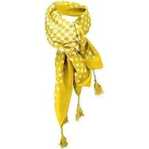 4ebaa4631d6c dames foulard jaune jaune moutarde blanc à pois taille 100 cm x 100 cm -  tissu