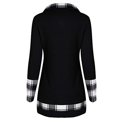 (Sonnena Damen Patchwork Plaid Sweatshirt Kleider Frauen Irregulär Taste Rollkragen Pullover Tuniken Basic Schlank Langarm Bluse Tops)