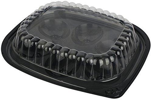 Kunststoff Einweg Schalen mit Deckel finanzseiten schwarz/klar-Set von 12Tabletts und 12Deckel