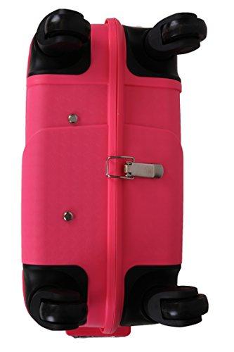 Handgepäcktrolley ZÜRICH Hartschalen Koffer Telescop Trolley Boardcase mit TSA Zahlen-Schloss und 4 Leichtlaufrollen verschiedene Farben Farbe orange pink