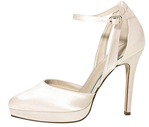 Rainbow Club Brautschuhe Salma - Damen High Heels gepolstert, Ivory/Creme, Satin - Gr. 35 (UK 2)
