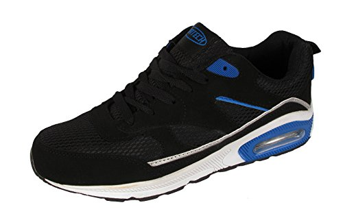 Tech Air-Scarpe da corsa da donna, con anti-Shock per scarpe da Fitness, palestra, sport, taglia 4-8 Black/Blue