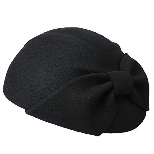 Kappe Elegant Bowknot Wollfilz Cloche Fedora Hut Für Damen Kirche Barett Bowler Hüte Derby Party Mode Winter Frauen Casual Weiche Klassik Hut (Farbe : Schwarz) Elegante Mode Hut