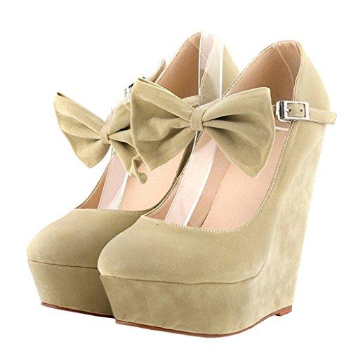 MERUMOTE Damen Y-008 Ankle Strap Bogen Schuhe Keil High Heels Kleid Pumpe Schuhe EU 35-46 Aprikose