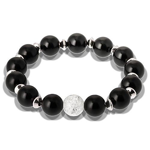 Onyx Naturstein Armband Bergkristall 10mm edles Design handgemacht