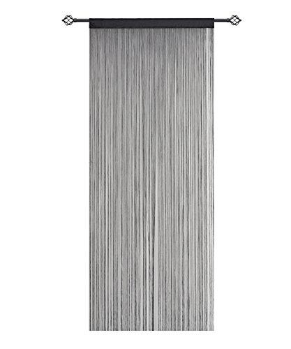 hsylym Spaghetti String Vorhang Panels Net Fransen Türvorhang Fliegengitter Raumteiler für Home Decor, Polyester, schwarz, 90x200cm