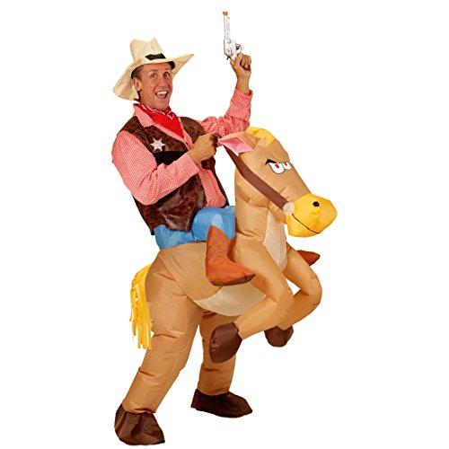 Traje Montando en Caballo | Disfraz Vaquero Hinchable | Traje Inflable con Caballo | Disfraz Cowboy a Cuestas