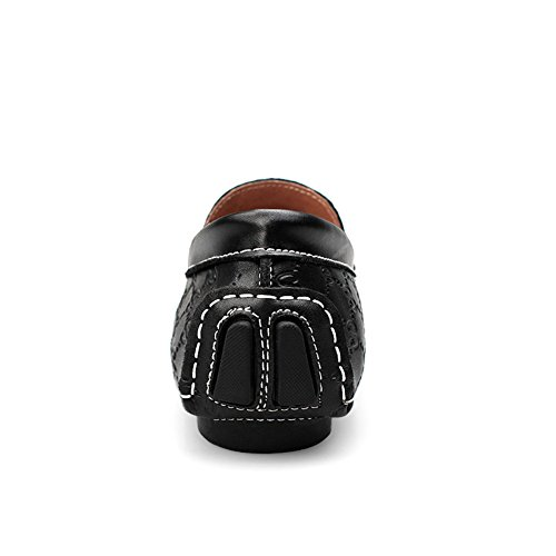 Shenn Hommes Unique Gaufrage Conception Élégant Cuir Chaussures de Conduite 9925 Noir