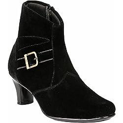 Real Blue Women's Black Velvet Zip Boots- 41 Eu