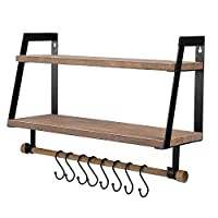 Vencipo 2-Tier Floating Shelves Wall Mount for Kitchen Spice Rack with 8 Hooks Storage, Rustic Farmhouse Wood Wall Shelf for Bathroom Décor with Towel Bar.