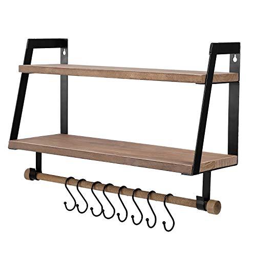 Vencipo Wandregal Holz für Organizer Küche Gewürzregal mit 8 Metall Haken, Vintage Regal Wand für Badezimmer Aufbewahrungs mit Handtuchhalter. Bücherregal Holz für Wanddeko Kinderzimmer. (2er Set)