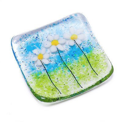 Little white daisy flowers fused glass trinket bowl dish or