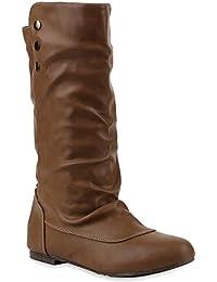 Bequeme Flache Damen Stiefel Hochschaft Stiefeletten Schuhe | Flandell®