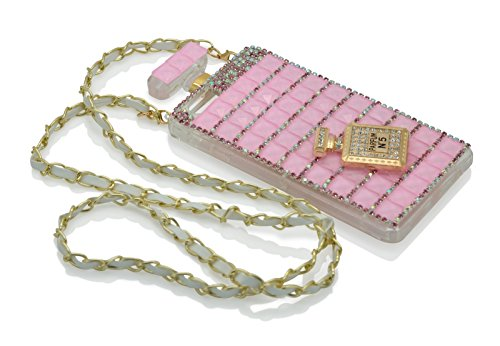iProtect Luxus Schutzhülle Apple iPhone 6, 6s Parfum Flacon mit Schulterriemen in Weiss Pink
