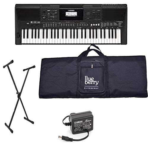 Blueberry Yamaha E 263 Digital keyboard with Adapter   Blueberry Bag along with USB LED and Keyboard Stand Portable Keyboards