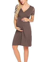 25bcd5892e9c UNibelle Vestito da maternità Donna Abito di maternità Abito in Pizzo Abito  di Gravidanza Scollo a V a Maniche Corte…