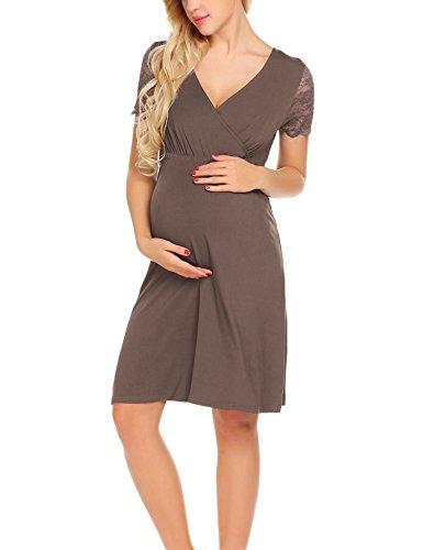 Unibelle vestito da maternità donna abito di maternità abito in pizzo abito di gravidanza scollo a v a maniche corte elegante caffe m