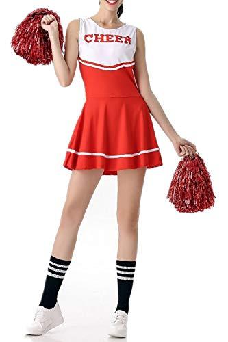 (Cheerleader-Kostüm für Damen von Fadirew, Outfit für College, zum Verkleiden, Sport, Schule, Mädchen, Musical, Uniform für Party, Halloween, 6 Farben M rot)