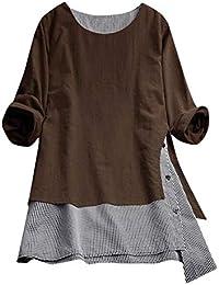 41e60b2a25d0 Overdose Blusa Donna Elegante Manica Lunga Camicetta Donna Elegante Taglie  Forti Maglietta Elegante Sexy Casual Tops