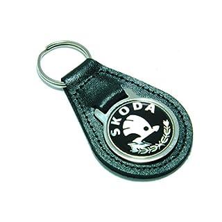 Skoda Schlüsselanhänger Qualität Schwarz Leder Schlüssel Ring