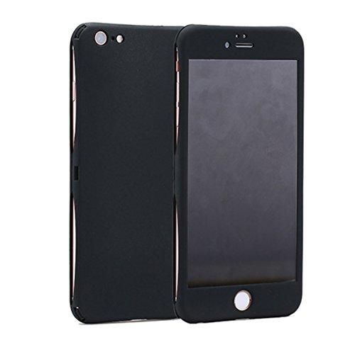 Coque iPhone 6/6S 360 Degres + Protection en Verre Trempé [ Anti-Choc ] Housse Etui PC Avant + Arrière Protection avec Absorption de Choc Bumper et Anti-Scratch Noir
