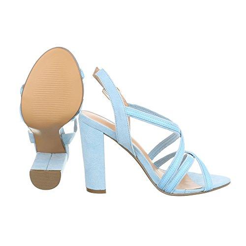 High Heel Sandaletten Damenschuhe Plateau Pump High Heels Schnalle Ital-Design Sandalen / Sandaletten Hellblau