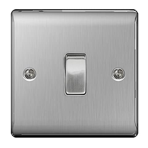 Masterplug NBS12 10 A 1-Gang 2-Way Metal Brushed Steel Light Switch