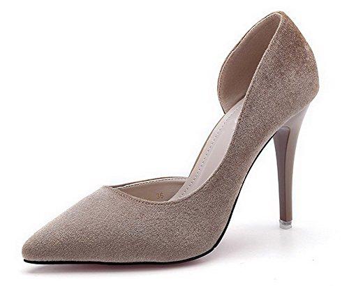 AalarDom Femme Pointu Tire à Talon Haut Couleur Unie Chaussures Légeres Kaki-Conique de la Mode