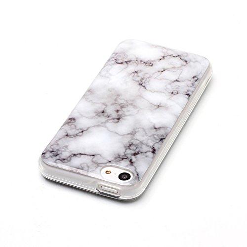 iPhone 5C Hülle Silikon, LuckyW TPU Marmor Handyhülle für Apple iPhone 5C Soft Silikon Tasche Transparent Schale Clear Klar Hanytasche Durchsichtig Rückschale Ultra Slim Thin Dünne Schutzhülle Weiche  Weiß 1