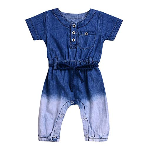 Dtuta Bekleidungssets Baby MäDchen Strampler Denim Blue Baumwoll MäNnliches Baby, Kurze ÄRmel, Steigung, Trend, Mode, Einfachheit, KnöPfe, BüGel, Ausdehnung, Denim, Overall