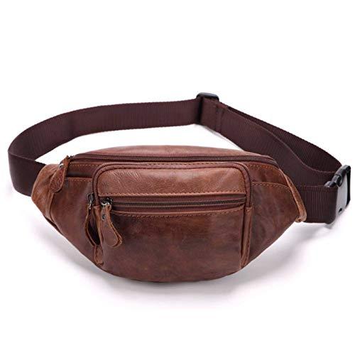 Teemzone Sporttasche Bauchtasche Hüfttasche Gürteltasche Wandertasche Hip Bag Reisetasche Doggy Bag Portmonai Geldbörse Damen Herren Leder Rot (Rotbraun 8000)