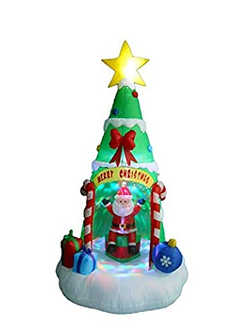 8 Foot Tall Lighted Inflatable Christmas Tree with Santa Claus Color LED Lights Yard Decoration by BZB Goods