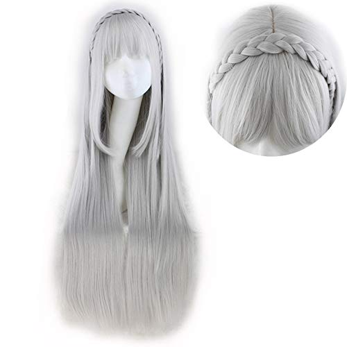 SuperCimi Damen Lolita White Perücke Lang-Gerade Haar Perücken für Mädchen Halloween Synthetische Cosplay Party Perücken mit Pony -