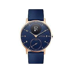 Withings Steel HR Hybrid Smartwatch - Fitnessuhr mit Herzfrequenz und Aktivitätsmessung, 36mm - blau, blau Lederband