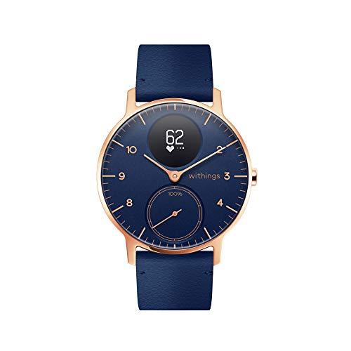 Withings Steel HR Hybrid Smartwatch - Fitnessuhr mit Herzfrequenz und Aktivitätsmessung  , 36mm - blau, blau Lederband