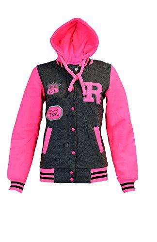 Aelstores Unisex Kinder Mädchen Jungen Baseball R Fashion Kapuze Jacke Varsity Kapuzen Alter 2 3 4 5 6 7 8 9 10 11 12 13 Jahre (Varsity-jacke Für Mädchen)