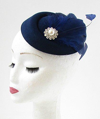 Pillenbox-Fascinator Hut marineblau mit silberner Feder im Vintage-Stil der 30-er und 40-er Jahre 734