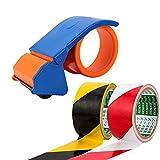SENZEAL Nastro di avvertenza in PVC 2psc + 1 nastro dispensatore di nastro per nastro adesivo per marcatura del pavimento ad alta visibilità