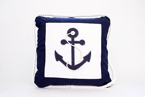 Kissenbezug Norbert 40x40cm Kissenhülle maritim Anker mit Kordel Tau Seil Sea Sommer blau weiß Seemann SeefahrtLeinen Leinenoptik Dekokissen