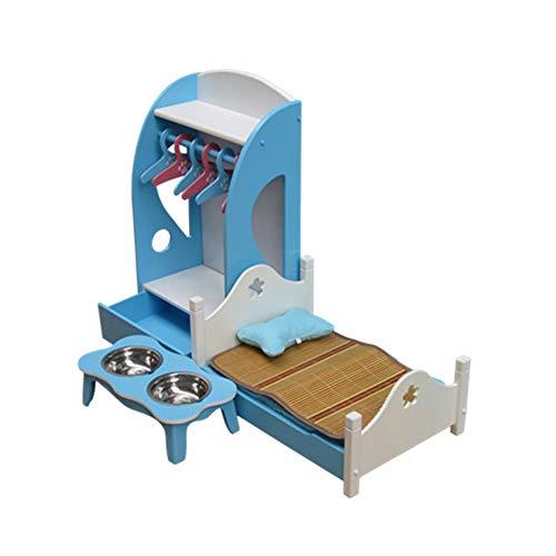 QNMM Haustiere Betten Holz Kennel Möbel Mode Hund Katze Weiche Betten Welpen Bett Kennel Dog Möbel Bett,Blue