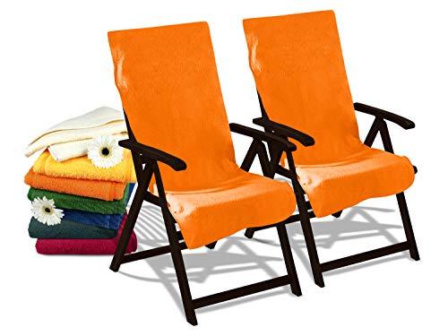 Dyckhoff Doppelpack Schonbezüge für Gartenstuhl & Gartenliege 277.297, Gartenstuhl (60 x 130 cm), orange