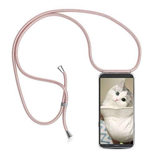 YuhooTech Handykette Kompatibel mit Samsung Galaxy A6 Plus, Smartphone Necklace Hülle mit Band - Handyhülle mit Kordel Umhängenband - Schnur mit Case zum umhängen in Rose Gold