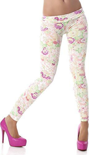 PF-Fashion Damen Leggings Leggins Body Slim Hose Karotte Lang Design Tapered Tarnmuster Blumen Batik Apricot 34/36 (Batik Silhouette)