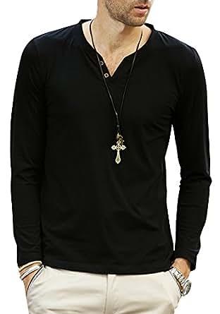 shirtqa Casual da uomo, collo a v, maniche lunghe maglietta Black XX-Large