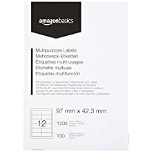 AmazonBasics Multipurpose Address Labels, 97mm x 42.3mm, 100 Sheets, 12 Label per Sheet, 1200 Labels