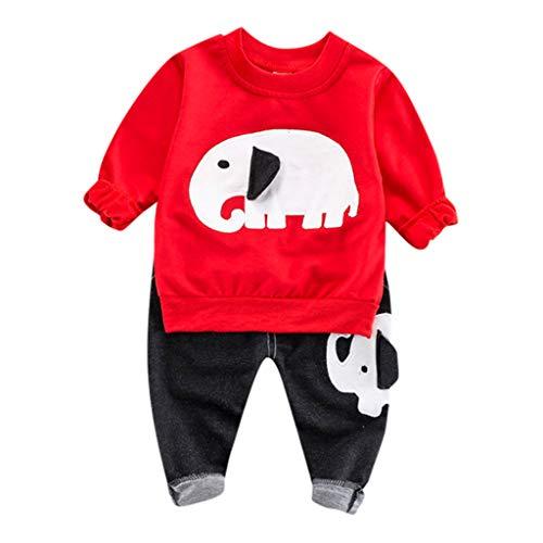 Julhold Kind Baby Niedlich Lässig Karikatur Elefant Langarm T-Shirt Baumwolle Keep Tops + Denim Hosen Outfit Set 0-4 Jahre