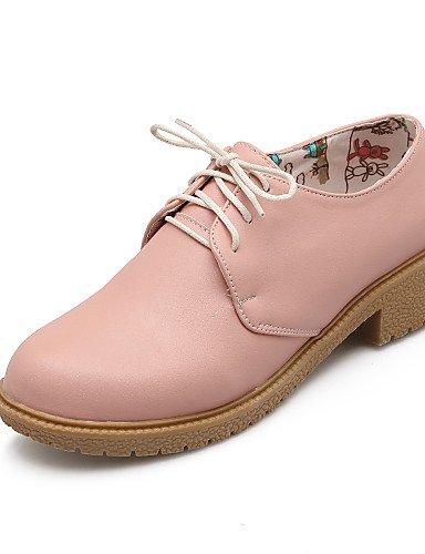 ZQ Scarpe Donna - Stringate - Casual - Punta arrotondata - Basso - Finta pelle - Blu / Rosa / Beige , pink-us10.5 / eu42 / uk8.5 / cn43 , pink-us10.5 / eu42 / uk8.5 / cn43 pink-us9 / eu40 / uk7 / cn41