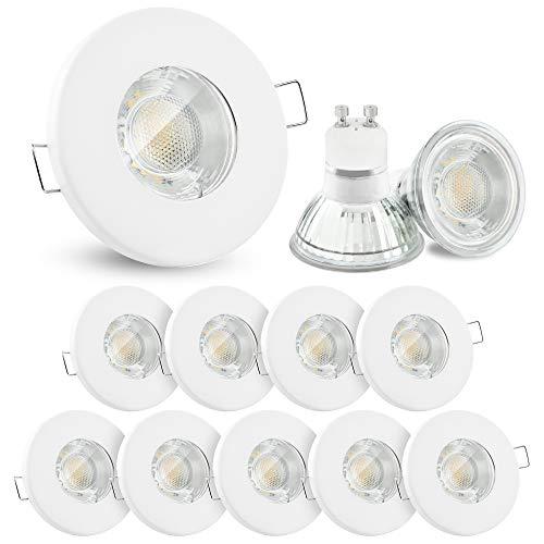 10x linovum® LED Einbaustrahler Set 3W flach IP65 weiß mit Wasserschutz für Bad, Dusche, Außen inkl. GU10 LED Lampe warmweiß -